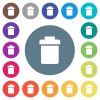 Single trash flat white icons on round color backgrounds - Single trash flat white icons on round color backgrounds. 17 background color variations are included.
