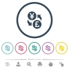 Yen Pound money exchange flat color icons in round outlines - Yen Pound money exchange flat color icons in round outlines. 6 bonus icons included.