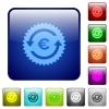 Euro pay back guarantee sticker color square buttons - Euro pay back guarantee sticker icons in rounded square color glossy button set