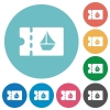 cruise discount coupon flat round icons - cruise discount coupon flat white icons on round color backgrounds