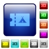 Camping discount coupon color square buttons - Camping discount coupon icons in rounded square color glossy button set