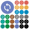 Loop round flat multi colored icons - Loop multi colored flat icons on round backgrounds. Included white, light and dark icon variations for hover and active status effects, and bonus shades.