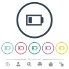 Low battery with one load unit flat color icons in round outlines. 6 bonus icons included. - Low battery with one load unit flat color icons in round outlines