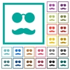 Glasses and mustache flat color icons with quadrant frames - Glasses and mustache flat color icons with quadrant frames on white background