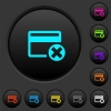 Cancel credit card dark push buttons with color icons - Cancel credit card dark push buttons with vivid color icons on dark grey background