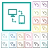 Connecting mobile to desktop flat color icons with quadrant frames - Connecting mobile to desktop flat color icons with quadrant frames on white background