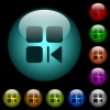 Previous component icons in color illuminated glass buttons - Previous component icons in color illuminated spherical glass buttons on black background. Can be used to black or dark templates