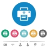 Wireless printer flat round icons - Wireless printer flat white icons on round color backgrounds. 6 bonus icons included.