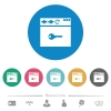 Browser encrypt flat round icons - Browser encrypt flat white icons on round color backgrounds. 6 bonus icons included.