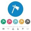 Single tomahawk flat round icons - Single tomahawk flat white icons on round color backgrounds. 6 bonus icons included.