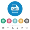 CDR file format flat round icons - CDR file format flat white icons on round color backgrounds. 6 bonus icons included.
