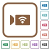 Wireless camera simple icons - Wireless camera simple icons in color rounded square frames on white background