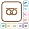 Salted pretzel simple icons - Salted pretzel simple icons in color rounded square frames on white background