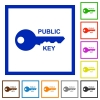 Public key flat framed icons - Public key flat color icons in square frames on white background