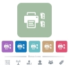 Printer and ink cartridges flat icons on color rounded square backgrounds - Printer and ink cartridges white flat icons on color rounded square backgrounds. 6 bonus icons included