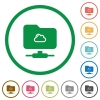 Cloud FTP flat icons with outlines - Cloud FTP flat color icons in round outlines on white background