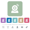 Wireless camera flat icons on color rounded square backgrounds - Wireless camera white flat icons on color rounded square backgrounds. 6 bonus icons included
