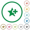 Add star flat icons with outlines - Add star flat color icons in round outlines on white background