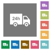 24 hour delivery truck square flat icons - 24 hour delivery truck flat icons on simple color square backgrounds