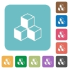 Cubes rounded square flat icons - Cubes white flat icons on color rounded square backgrounds