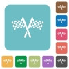 Two chequered flags rounded square flat icons - Two chequered flags white flat icons on color rounded square backgrounds