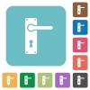 Right handed door handle with screws rounded square flat icons - Right handed door handle with screws white flat icons on color rounded square backgrounds