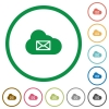 Cloud mail system flat color icons in round outlines on white background - Cloud mail system flat icons with outlines