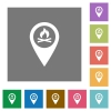 Camp GPS map location square flat icons - Camp GPS map location flat icons on simple color square backgrounds