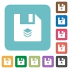 Multiple files rounded square flat icons - Multiple files white flat icons on color rounded square backgrounds