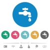 Water faucet with water drop flat round icons - Water faucet with water drop flat white icons on round color backgrounds. 6 bonus icons included.