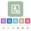 Protect contact flat icons on color rounded square backgrounds - Protect contact white flat icons on color rounded square backgrounds. 6 bonus icons included