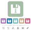 Zipped file flat icons on color rounded square backgrounds - Zipped file white flat icons on color rounded square backgrounds. 6 bonus icons included