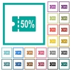 50 percent discount coupon flat color icons with quadrant frames - 50 percent discount coupon flat color icons with quadrant frames on white background