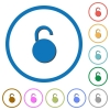 Unlocked round padlock icons with shadows and outlines - Unlocked round padlock flat color vector icons with shadows in round outlines on white background