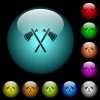 Two tomahawks icons in color illuminated spherical glass buttons on black background. Can be used to black or dark templates - Two tomahawks icons in color illuminated glass buttons