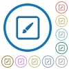 Paint object icons with shadows and outlines - Paint object flat color vector icons with shadows in round outlines on white background