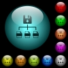 Save file as multiple format icons in color illuminated glass buttons - Save file as multiple format icons in color illuminated spherical glass buttons on black background. Can be used to black or dark templates