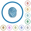 Fingerprint icons with shadows and outlines - Fingerprint flat color vector icons with shadows in round outlines on white background