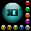 Movie discount coupon icons in color illuminated glass buttons - Movie discount coupon icons in color illuminated spherical glass buttons on black background. Can be used to black or dark templates