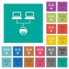 Network printing multi colored flat icons on plain square backgrounds. Included white and darker icon variations for hover or active effects. - Network printing square flat multi colored icons