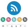 Radio signal flat white icons on round color backgrounds. 6 bonus icons included. - Radio signal flat round icons