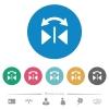 Horizontal flip flat round icons - Horizontal flip flat white icons on round color backgrounds. 6 bonus icons included.