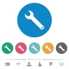Single wrench flat round icons - Single wrench flat white icons on round color backgrounds. 6 bonus icons included.