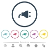 Power plug flat color icons in round outlines - Power plug flat color icons in round outlines. 6 bonus icons included.