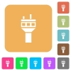 Air control tower rounded square flat icons - Air control tower flat icons on rounded square vivid color backgrounds.