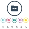 Processing folder flat color icons in round outlines - Processing folder flat color icons in round outlines. 6 bonus icons included.