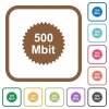 500 mbit guarantee sticker simple icons - 500 mbit guarantee sticker simple icons in color rounded square frames on white background
