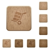 Hand truck with boxes wooden buttons - Hand truck with boxes on rounded square carved wooden button styles