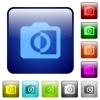 Monochrome photos color square buttons - Monochrome photos icons in rounded square color glossy button set