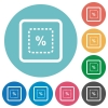 Scale object by percent flat round icons - Scale object by percent flat white icons on round color backgrounds